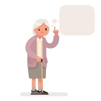 Grootmoeder spreekt een tekstballon