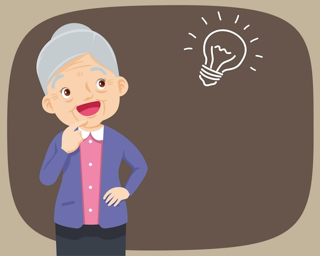 Grootmoeder staand denken krijgt idee Premium Vector