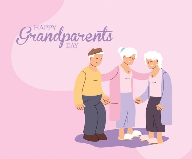 Grootmoeders en grootvader van gelukkige grootouders dag ontwerp, oude vrouw en man