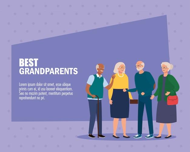 Grootmoeders en grootvaders op beste grootouders vectorontwerp