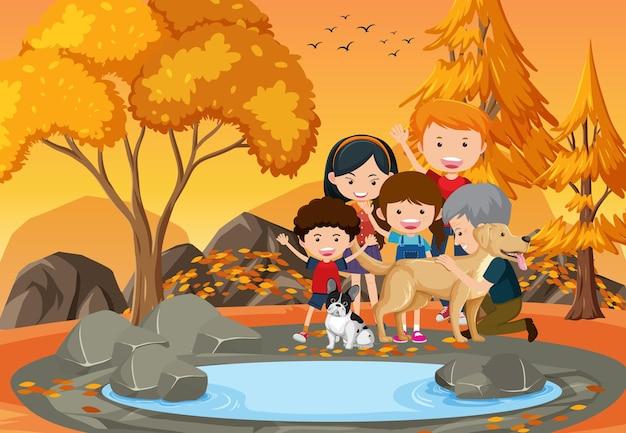 Grootouder en kinderen in het park