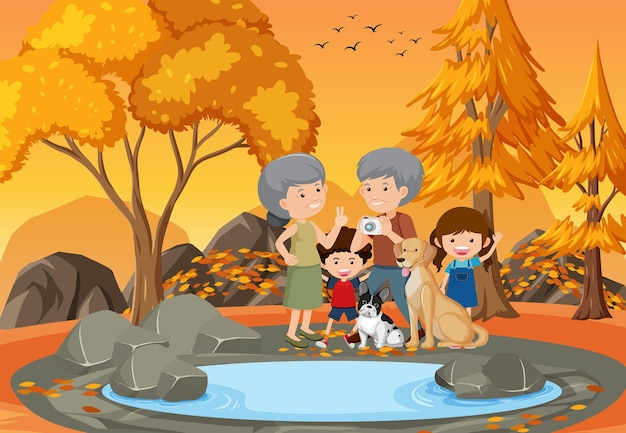 Grootouder en kinderen op het park