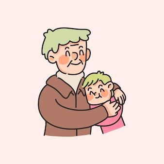 Grootouder en kleinkind schattige bonding familie illustratie