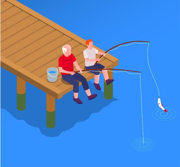 Grootouder en kleinkind vissen illustratie