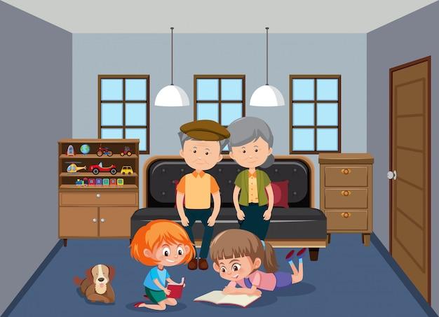Grootouder en kleinkinderen in de woonkamer