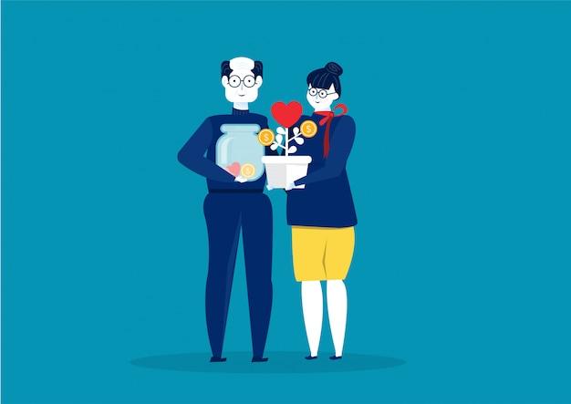 Grootouders dag met geld besparen pensioenleeftijd vector illustratie