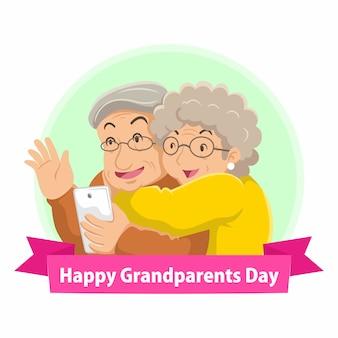 Grootouders dag platte ontwerp illustratie