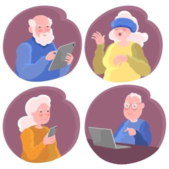 Grootouders die verschillende digitale apparaten gebruiken