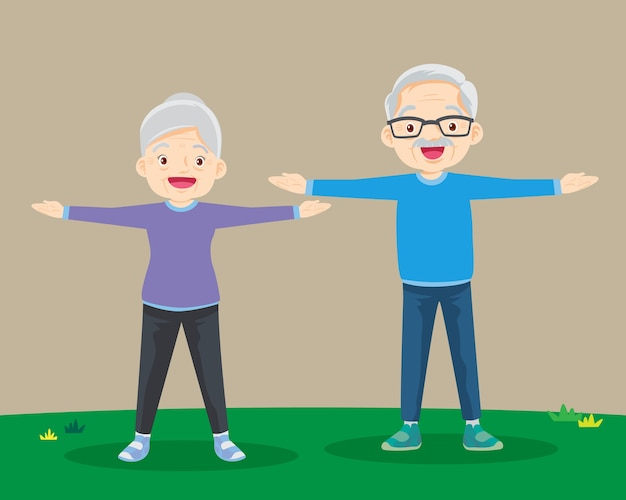 Grootouders doen oefeningen. ouder echtpaar.