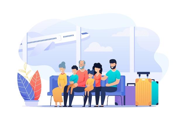 Grootouders, echtpaar met kinderen zittend bij vertrek aankomst op luchthaven