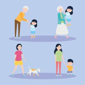 Grootouders en familie icon set