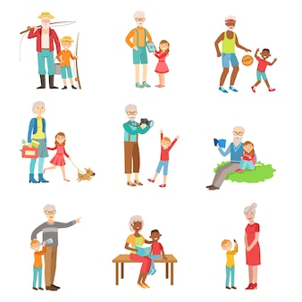 Grootouders en kinderen tijd samen doorbrengen set van illustraties