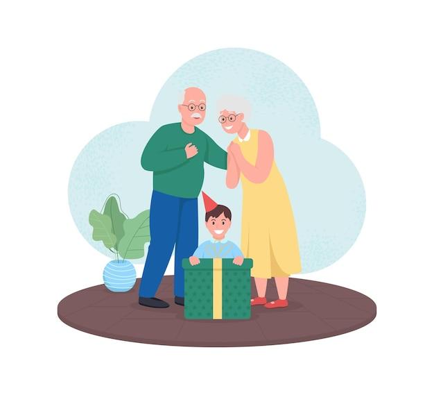 Grootouders geven cadeau aan jongen webbanner, poster. senior koppel geeft kleinzoon aanwezig.