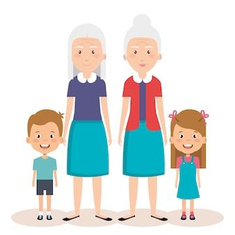 Grootouders groep met avatars van kleinkinderen