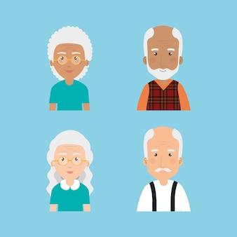 Grootouders groeperen avatars-personages