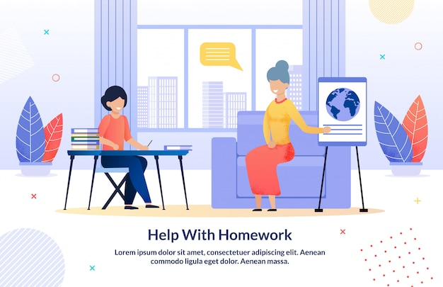 Grootouders helpen met huiswerk cartoon sjabloon