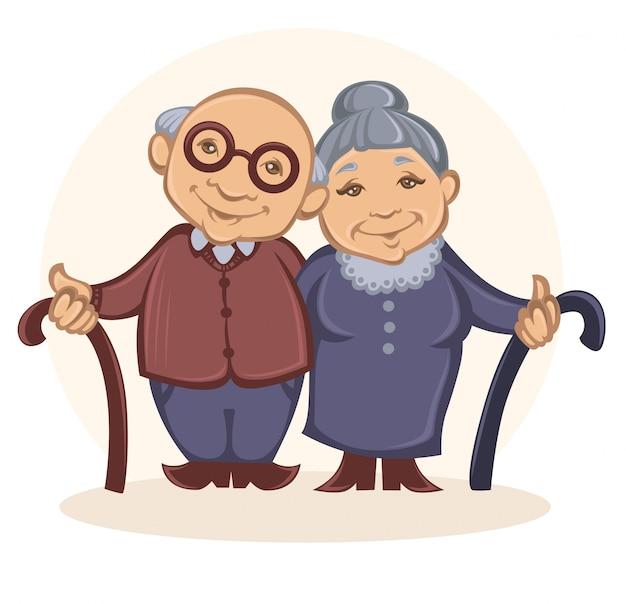 Grootouders in cartoon-stijl
