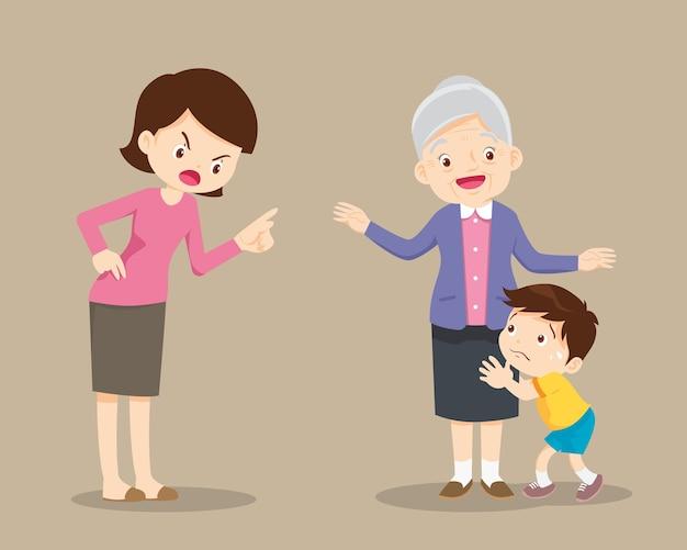 Grootouders kalmeren het kind van een uitbrander van de moeder
