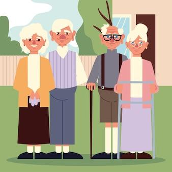 Grootouders koppels cartoon