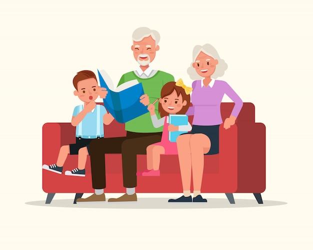 Grootouders met hun kleinkinderen characterdesign vector.