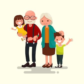 Grootouders met hun kleinkinderen illustratie