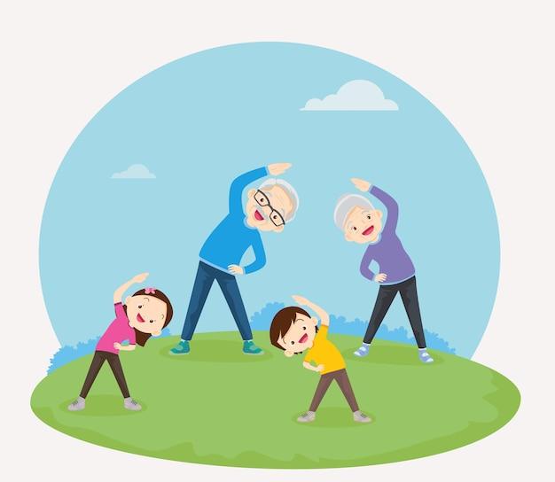 Grootouders met kleinkinderen die samen trainen voor een goede gezondheid