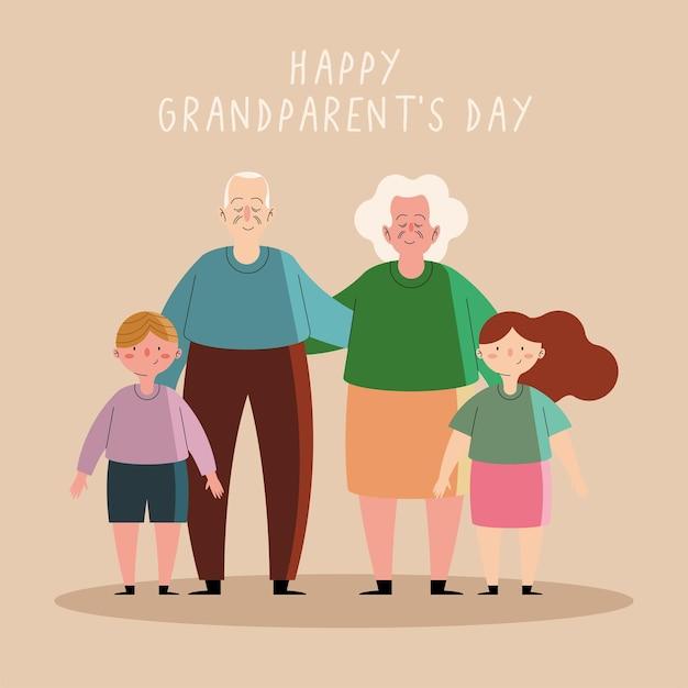 Grootouders paar en kleinkinderen karakters