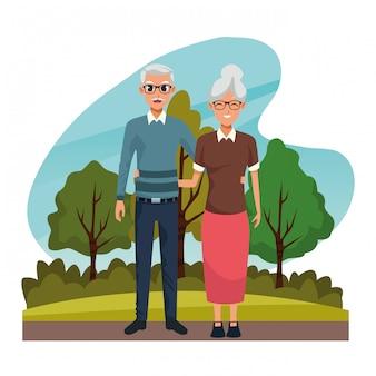 Grootouders paar glimlachend in de natuur cartoon
