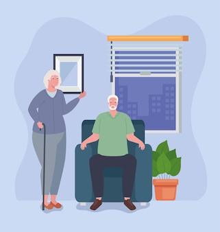 Grootouders paar in woonkamer