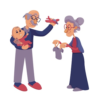 Grootouders spelen met baby platte cartoon afbeelding. senior oma en opa liefdevolle kleinzoon. klaar om 2d-tekensjabloon te gebruiken voor reclame, animatie, afdrukken. geïsoleerde komische held