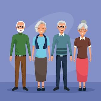 Grootouderskarakters die geïsoleerde beeldverhaalverhalen glimlachen
