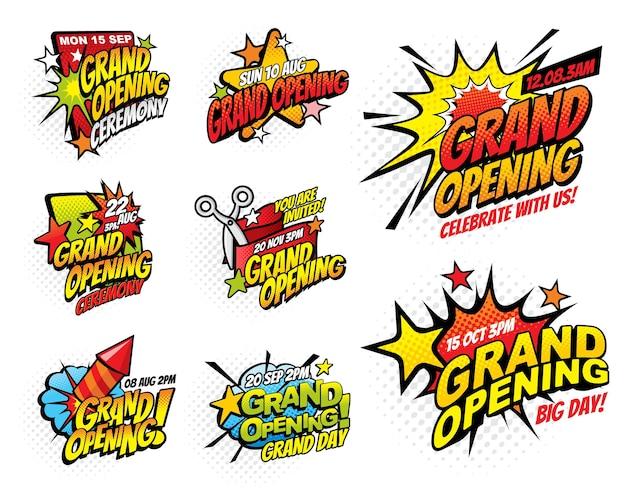 Grootse opening halftoon komische bubbelpictogrammen