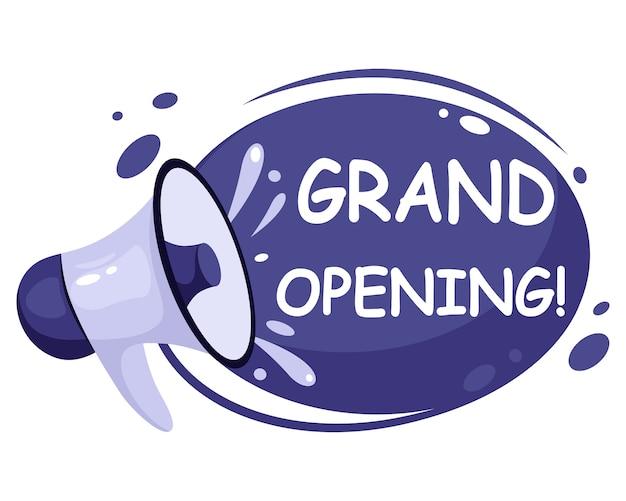 Grootse opening, heropening, we zijn open banner. uitnodigingsposters met megafoonspreker. in vlakke stijl.