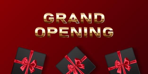 Grootse opening vector banner. feestelijke sjabloon voor openingsceremonie