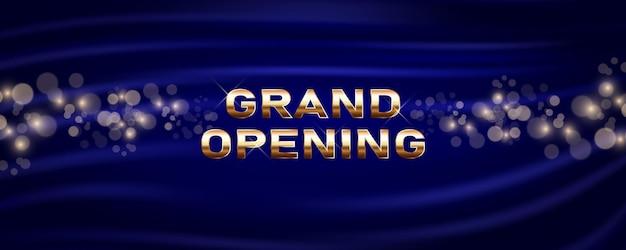 Grootse opening vectorbanner. sjabloon feestelijk ontwerpelement voor openingsceremonie kan worden gebruikt als achtergrond of poster