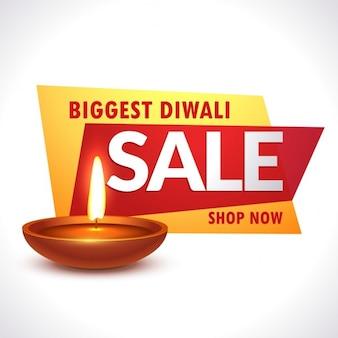 Grootste diwali verkoop banner met realistische diya