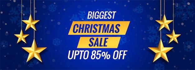 Grootste kerst verkoop op blauwe banner sjabloon