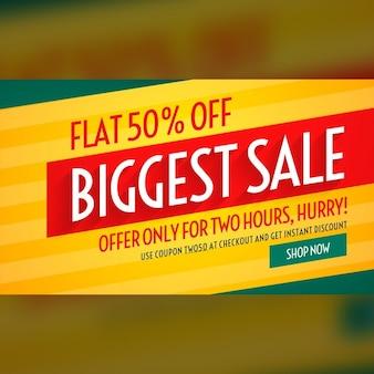 Grootste verkoop aanbiedingen en kortingen bannermalplaatje voor promotie