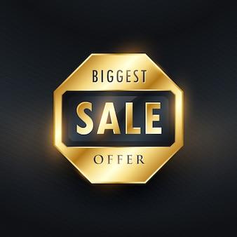 Grootste verkoop aanbod gouden label ontwerp