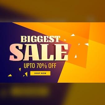 Grootste verkoop banner met gele en paarse achtergrond