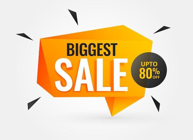 Grootste verkoop korting banner sjabloon geometrisch ontwerp