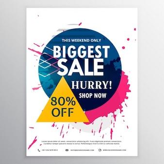 Grootste verkoop kortingsbon met inkt splash