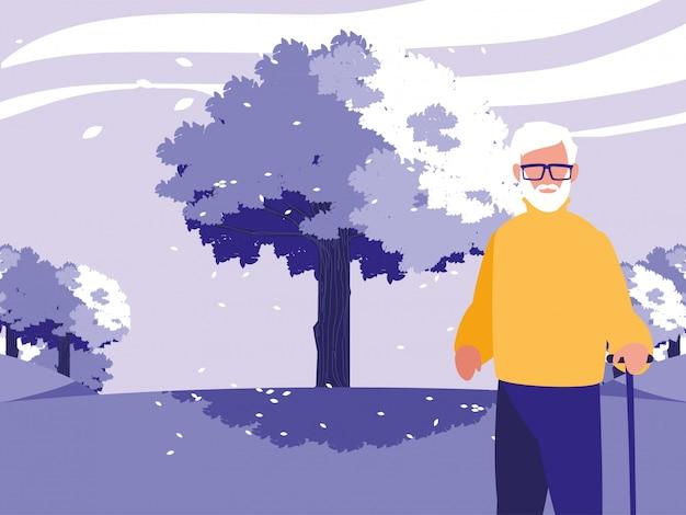 Grootvader avatar oude man voor een boom
