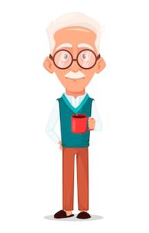 Grootvader draagt een bril