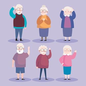 Grootvader en grootmoeder icoon collectie