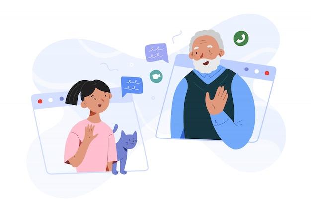 Grootvader en kleindochter familie videogesprek, meisje spreekt met opa