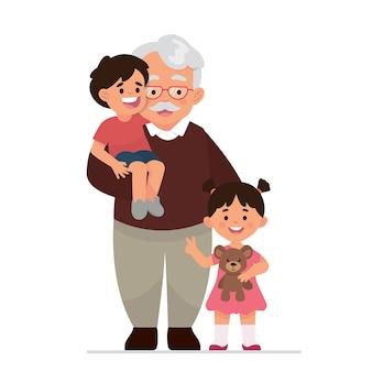 Grootvader en kleinkinderen