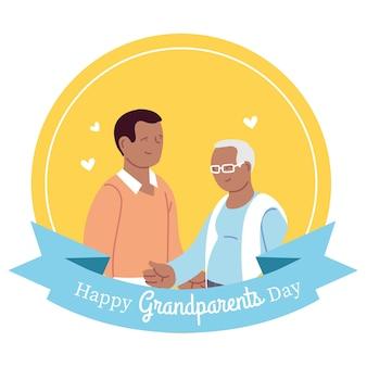 Grootvader en zoon ontwerp, happy grootouders dag