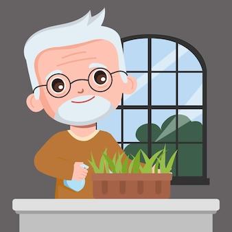 Grootvader groeiende boom thuis cartoon