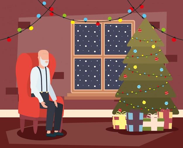 Grootvader in woonkamer met kerstmisdecoratie